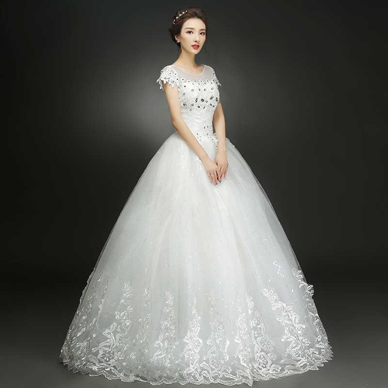משלוח חינם YiiYa 2016 לבן כלה שמלות כלה נסיכת כדור שמלות כלה Vestidos דה Novia שמלות קצר שרוולים XXN146