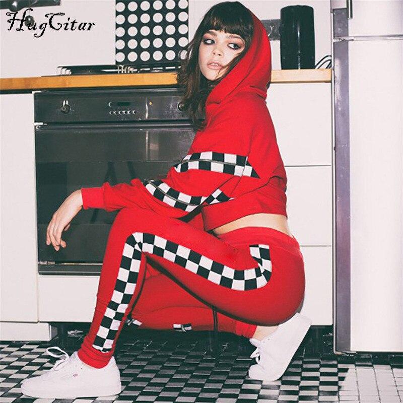 Hugcitar long sleeve zipper patchwork hooded crop tops leggings 2 pieces sets 2018 autumn winter fashion sweatshirt pants sets