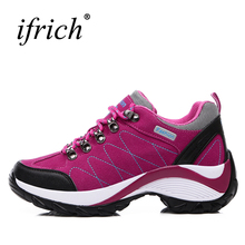 2019 Waterproof Hiking Shoes Women Red/Black Height Increasing Climbing Mountain Shoes Women Leather Outdoor Hiking Boots