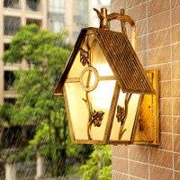 Светодио дный Коттедж Стиль наружного освещения стены Винтаж Водонепроницаемый балкон настенный светильник сад вилла двор бра светодио дн
