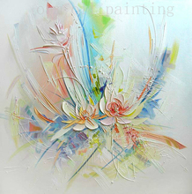 Handmade Modern Abstract New Style Flower Palette Knife Oil Painting on Canvas Hand Painted Wall Artwork in Calligraphy & Paints