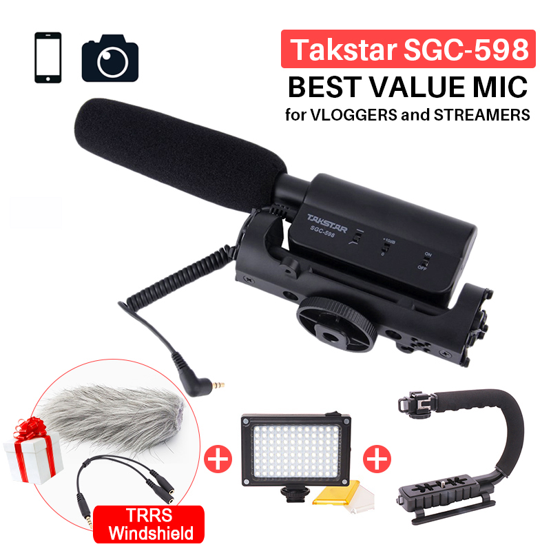 Takstar SGC-598 Photography Interview Shotgun MIC Microphone for Nikon Canon DSLR Camera DV Camcorder for Vloggers/Videomaker цены онлайн
