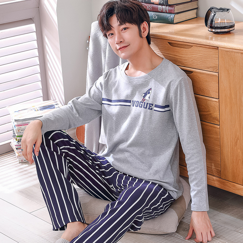 Men   Pajamas     Set   O-neck Sleepwear Cotton Nightwear Long Sleeve Male Sleep Clothing Plus Size Nighties Leisure Home Cloth Homewear