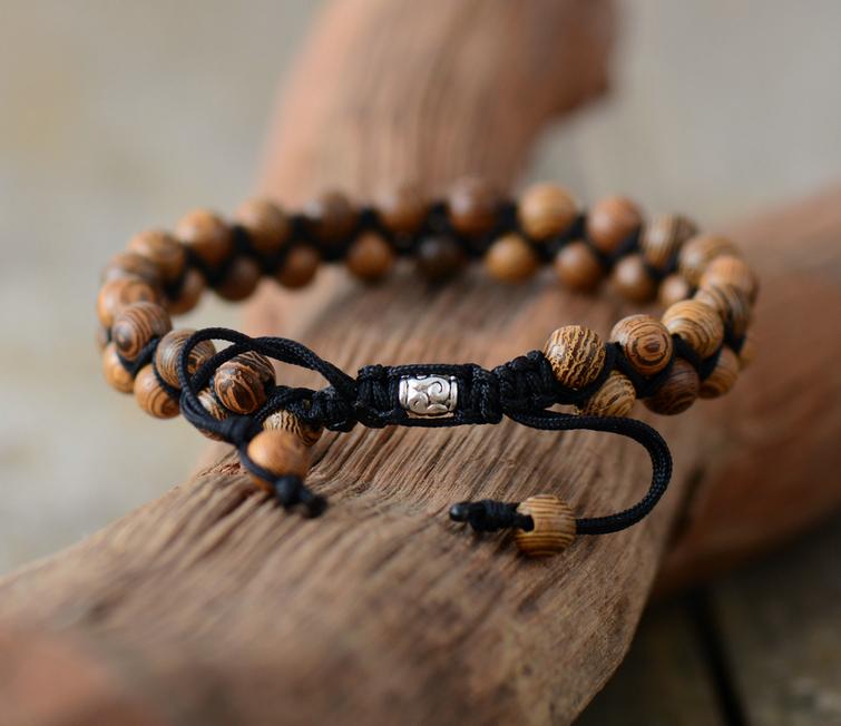 ed776ea889 Men Bracelets Vintage Wood Black Cord Braided Bracelet Handmade Mens Beads  Punk Friendship Bracelets Couples Gift. SKB1707008 C SKB1707008 B