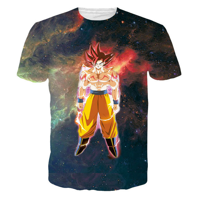 Nueva Moda 3D Camisetas Estampadas Anime Dragon Ball Z Goku Graphic Tees  Hombres Cartoon Galaxy Tops 3a06a980bb