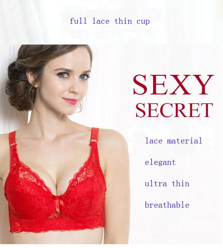 Plus size Foreign Trade Ultra-thin Lace Sexy Thin Cotton Cup Plump Big Push Up Bra Bralette Encaje Sexy Bra modis lingerie 25
