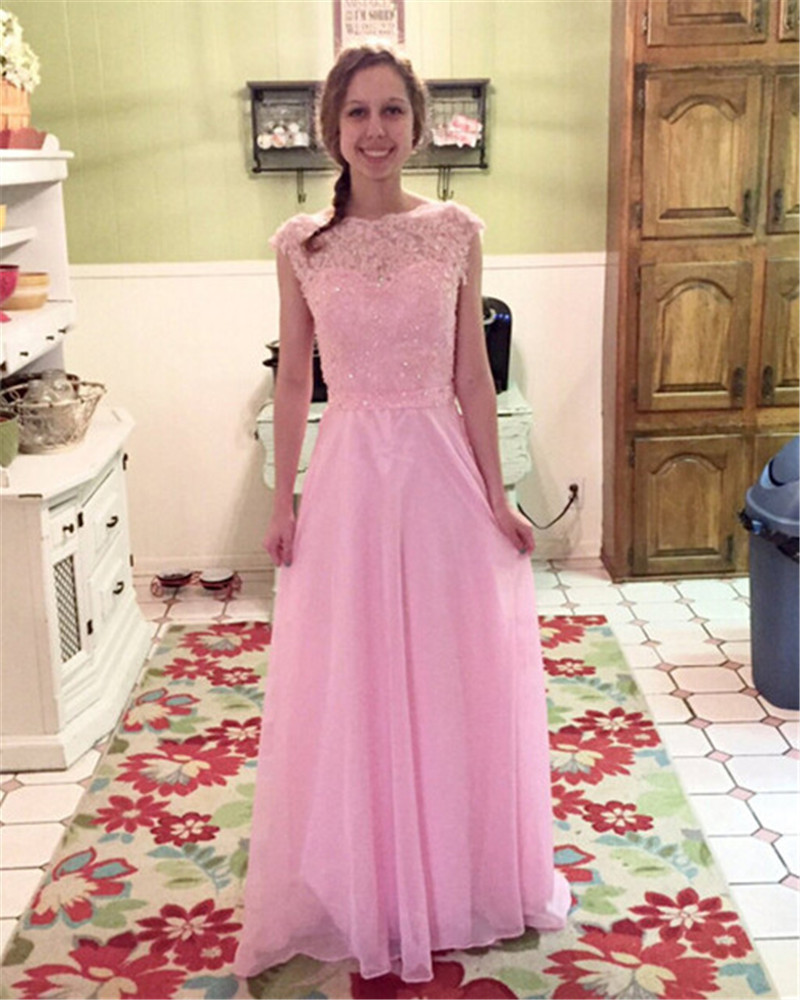 Hot Pink Evening Party Night Dress Lovely Applique Long Chiffon Prom ...