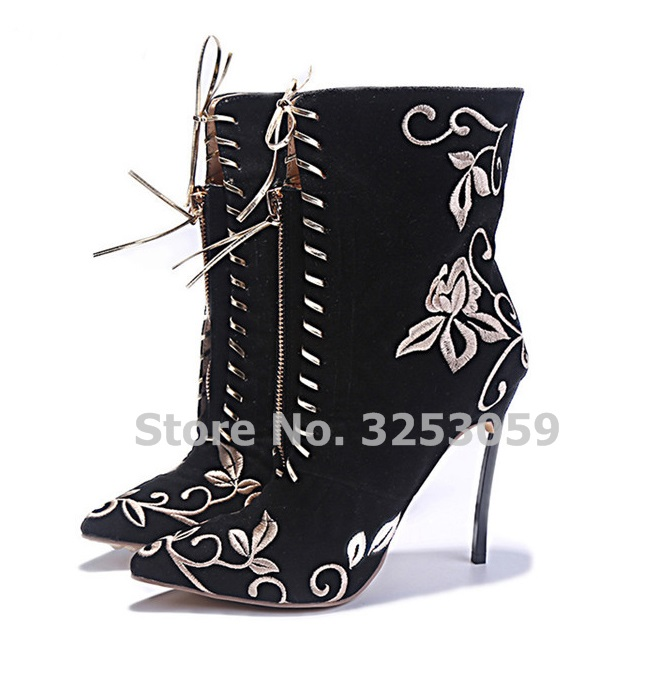 ALMUDENA Gorgeous Embroidered Metal Thin High Heels Dress Boots Lace-up Pointed Toe Flowers Shoes Banquet Pumps Pointed Toe