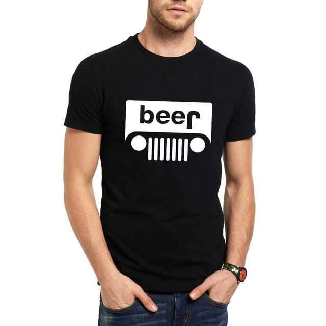 512cd57c5 Loo Show Beer Jeep Optical Illusion Graphic Humor Funny Summer Short Sleeve  T-Shirt Men Fashion Tee