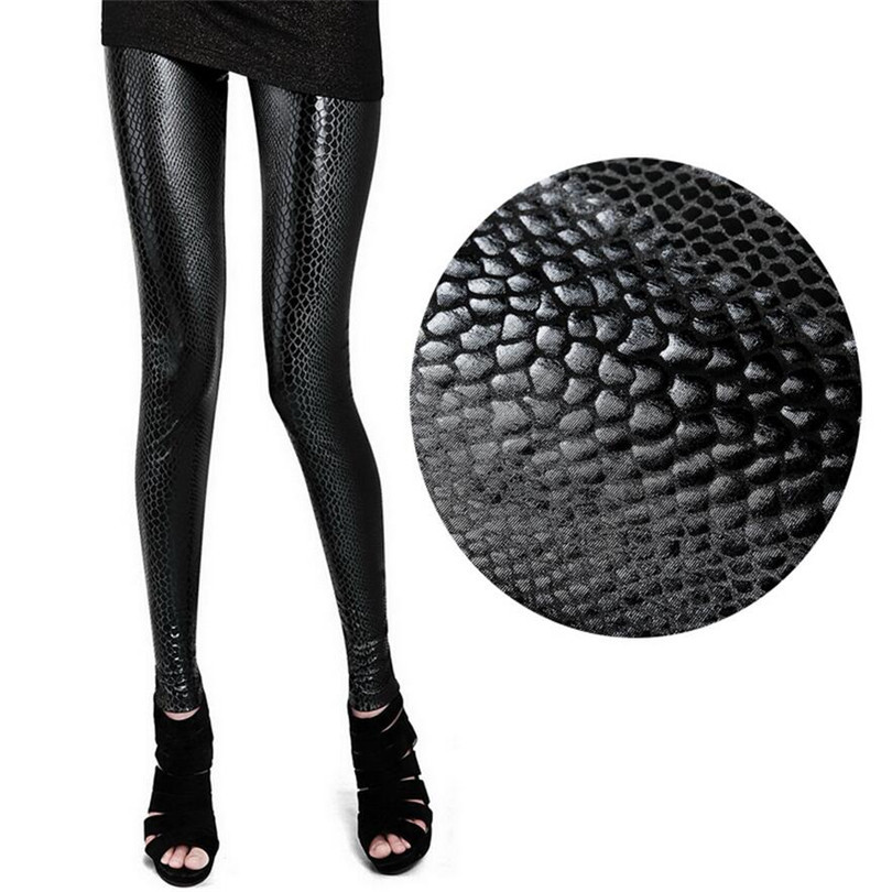 VISNXGI Fashion Serpentine Sexy Leggings Womens Leggins Stretch Faux Leather Pants Plus Size Snake Skinny Ankle-Length Leggings