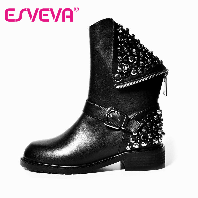 ФОТО ESVEVA Punk Rivets Shoes Woman PU + Real Leather Autumn Boots Square Heels Winter Ankle Boots Zipper Martin Short Snow Boots