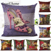 decorUhome Christmas Cartoon Linen Pillow Case Dog High Heels Santa Cushion Cover Decorative Throw Pillow Cover Sofa Home Decor(China)