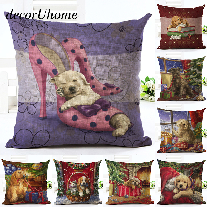 decorUhome Christmas Cartoon Linen Pillow Case Dog High Heels Santa Cushion Cover Decorative Throw Pillow Cover Sofa Home Decor
