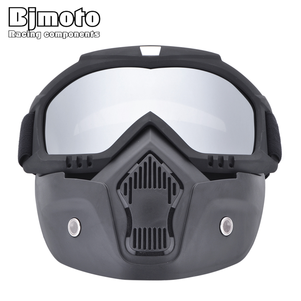 Motocross Goggles Dust Mask Face Glasses With Detachable Motorcycle Goggle Open Face Motorcycle Half Helmet Or Vintage Helmets
