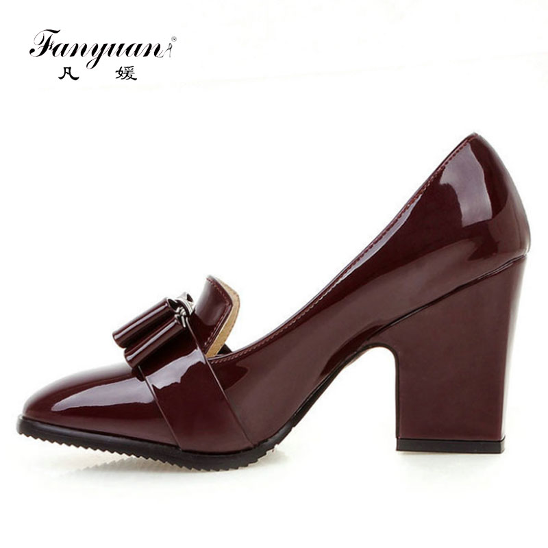 Fanyuan Lady High Quality PU Leather Thick Heel Women's Pumps For Women Fashion Bowtie Square Toe High Heel Slip On Pumps Shoes women s high heels women pumps sexy bride party square heel square toe rivets high heel shoes