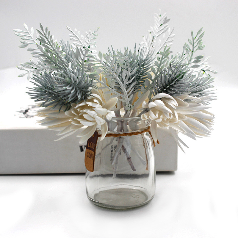 1Pcs Artificial Flowers Pine Grass Flower Wedding Party Decoration High Quality DIY Craft Scrapbook Fake Flowers Christmas Decor
