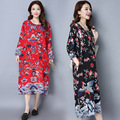 Mulher grávida dress outono manga longa maternidade roupas de linho de algodão floral retro soltas casual vestidos longos ce315