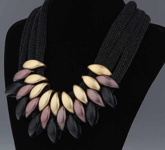Ahmed Jewelry Brand Statement Necklace Women Geometric Woven Hand necklaces & pendants mesh short Necklace wholesale Gift