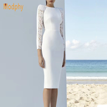 Rayon Elasticity Long Sleeve Lace Bandage Dress