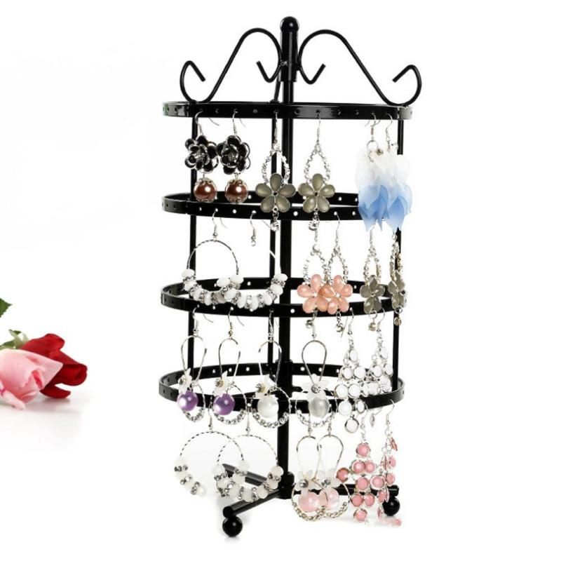 144 Holes 4 Tiers Round Rotatable Display Earring Holder Fashion Women Jewelry Stand Rack Display Rack Jewelry Organizer Hot