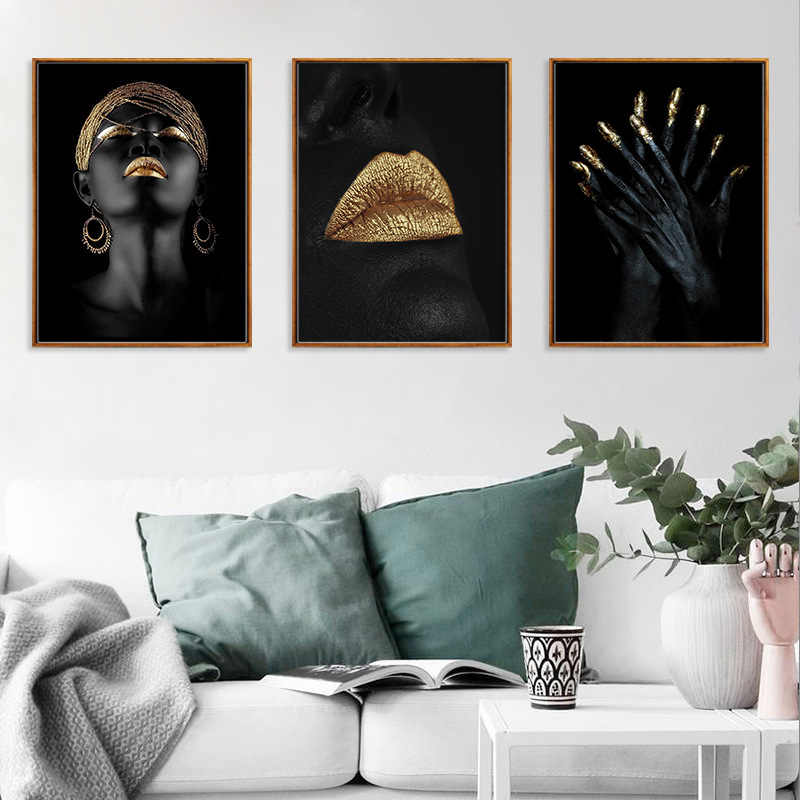 Abstract Gold Black Woman Posters and Prints Portrait Oil Painting on Canvas Wall Art Picture for Living Room Scandinavian Decor