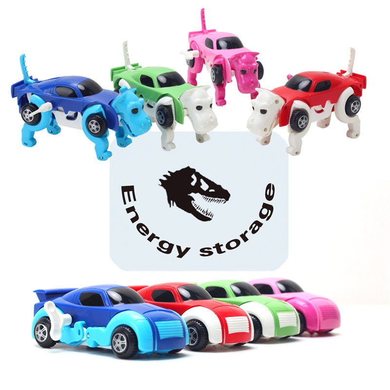 cool automatic transform dog car 4 colors vehicle clockwork wind up toy variety cute funny girl children kid model toy for gift