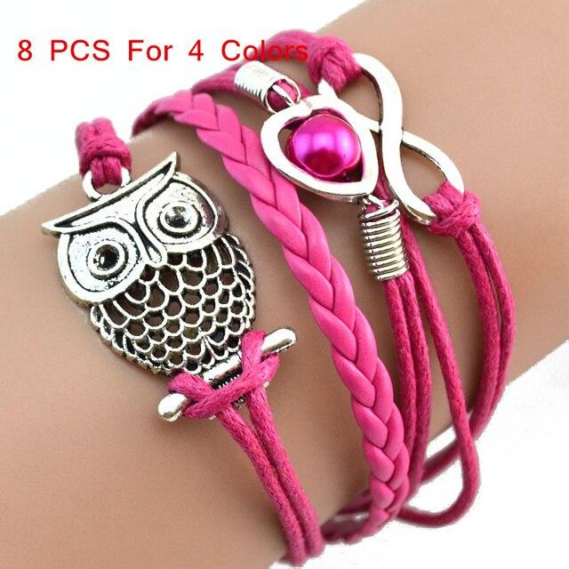 saatleri 2017 8 PCS Hot Sale Bracelets sexy fashion 4 color jewelry Infinity Owl Pearl Multilayer Charm Leather Bracelets Gift