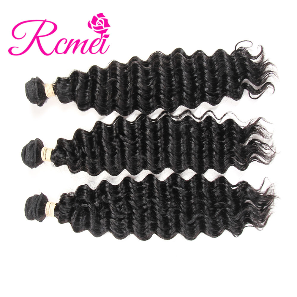 Rcmei Hair 3 Bundles Mongolian Deep Wave 100% Human Hair Extention Remy Hair 10-30 inch Free Shipping