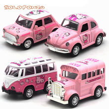 2da95402d 1:36 Hello Kitty Mini Alloy Diecast Pull Back Car Model Toy for girls kid  car Collection Brinquedos Vehicle Little Birthday Gift