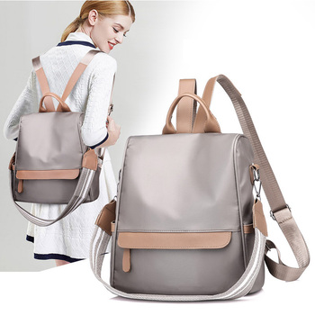 Simple Style Backpack Women Nylon Backpacks For Teenage Girls School Bags Fashion Solid Shoulder Bag Multifunction