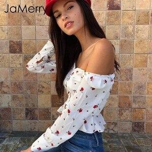 Image 2 - JaMerry Elegant white blouse women shirts 2019 Vintage flower print blouse tops summer Casual ruffles short tops blusas female