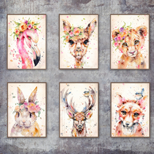 Watercolor Rabbit Deer Fox Unicorn Tiger Wall Art Canvas Painting Nordic Posters And Prints Wall Pictures For Living Room Decor