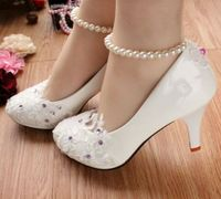 LACE RHINESTONES Plus Sizes Woman Wedding Shoes On Sales TG108 Purple Stones Lace Ankle Pearl Elastic