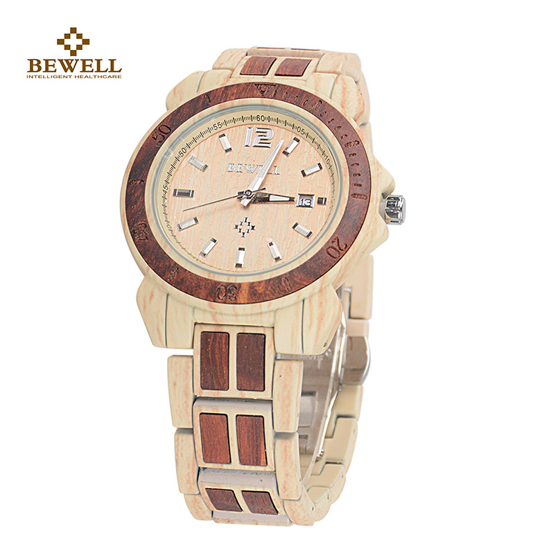 BEWELL Watches Dress Quartz-Movement Waterproof with Fashion Japan Steel-Strap for Male