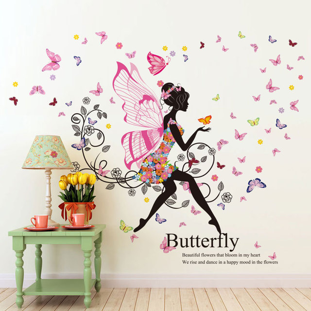 Creative Butterfly Wings Girl Baby Room Wall Stickers Childrenu0027s Room  Bedroom Bedside TV Sofa Backdrop Decorative