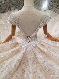Image 5 - Ls11293 vestido de casamento especial cristal boné manga ilusão o pescoço feito à mão vestido de casamento ver através aberto voltar vistido