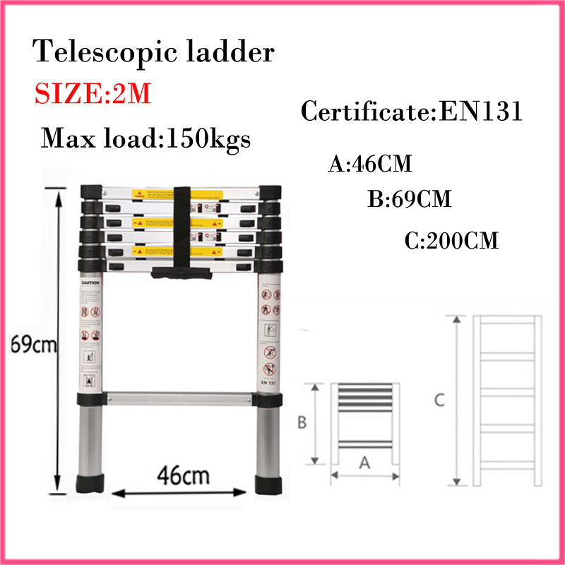 2M Multifunctional retractable ladder aluminum alloy thickening folding ladder bamboo household ladder portable Safe Doorways