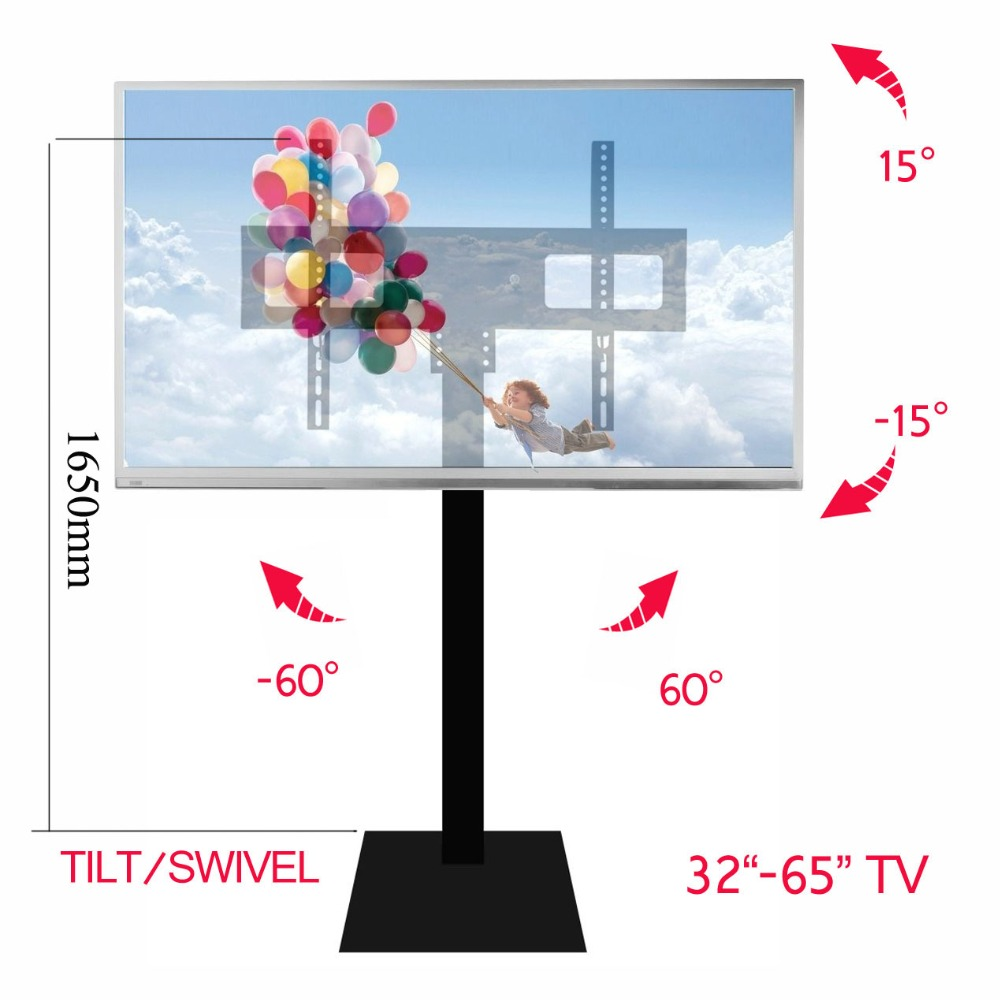 (1650mm high) Steel tilt back forth up down swivel full motion 32 65 LED LCD TV Cart Flat Panel Plasma TV Trolley Floor Stand