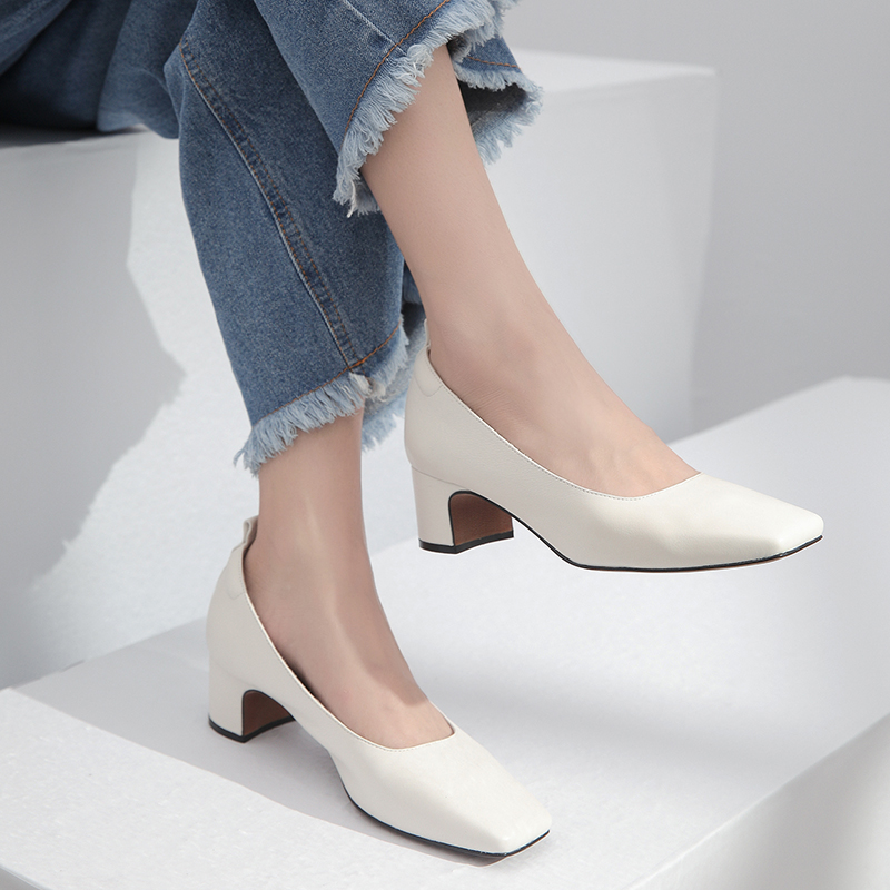 Women Pumps Genuine Leather 22-25 cm length Autumn and winter full and thick leather with square head soft sole shoes casual