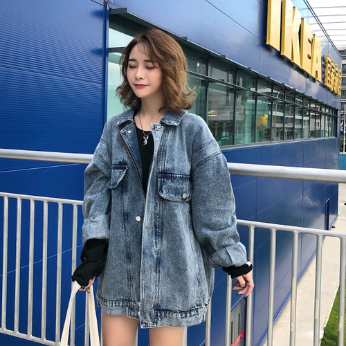 Chic   Basic     Jackets   2018 Winter Women Denim   Jacket   Coats Vintage Long Sleeve Loose Boyfriend Jeans Coat   Jacket   Casaco Feminino