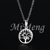 Tree Of Life Crystal Apple Tree Pendant Necklace Life Tree Round Pendant Necklace In Real Rhodium