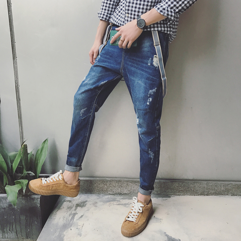2016 New High Quality Man Pockets Suspenders Distressed Hip Hop Jeans Pants Denim Overalls Casual Men