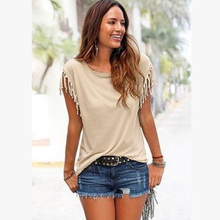 T-shirt Solid Ladies large Size Tassels Stitching Round Collar Street Short Sleeve Knot 2019 New S-5XL Modal Top