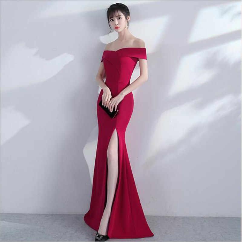 Бургундия летнее платье женское Длинное Элегантное труба сексуальное Клубное женское платье для выпускного вечера Сплит Vestido Slash шеи платье макси-длины QV118