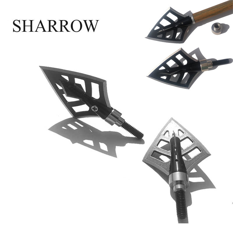 6pcs Hunting Black Broadheads 4 Blades Arrowhead 125Grain Arrow Point Target Shooting Tips Crossbow Compound Recurve Bow Head
