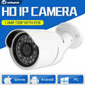 CMOS 720 P ВИДЕОНАБЛЮДЕНИЯ Onvif POE IP Пуля Камеры 3.6 мм Объектив ИК Ночного Видения, Водонепроницаемая Камера Видеонаблюдения Открытый P2P Облако App посмотреть