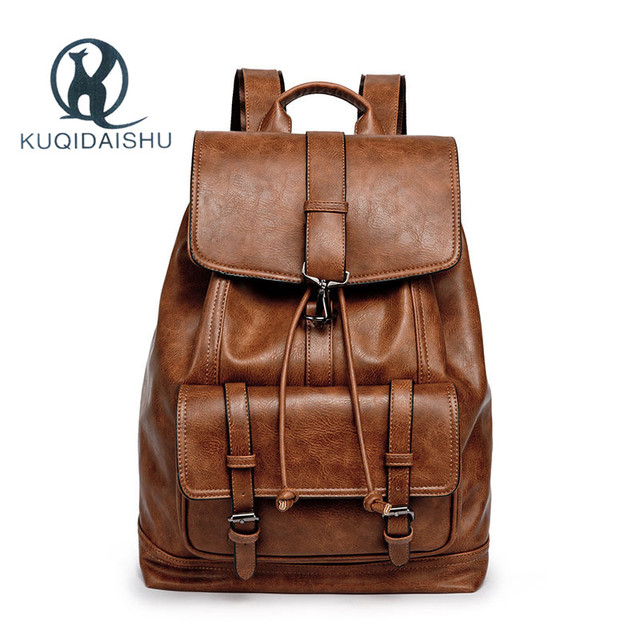 Backpack Men Pu Leather School Bag For College Design Casual Daypacks Travel Backpacks Classic