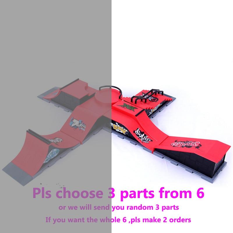 Livraison gratuite modèle demi-Six-en-un (3 pièces) Mini rampe doigt Skateboard parc/Skatepark tech-deck Skate Park comprend 3 doigts planche