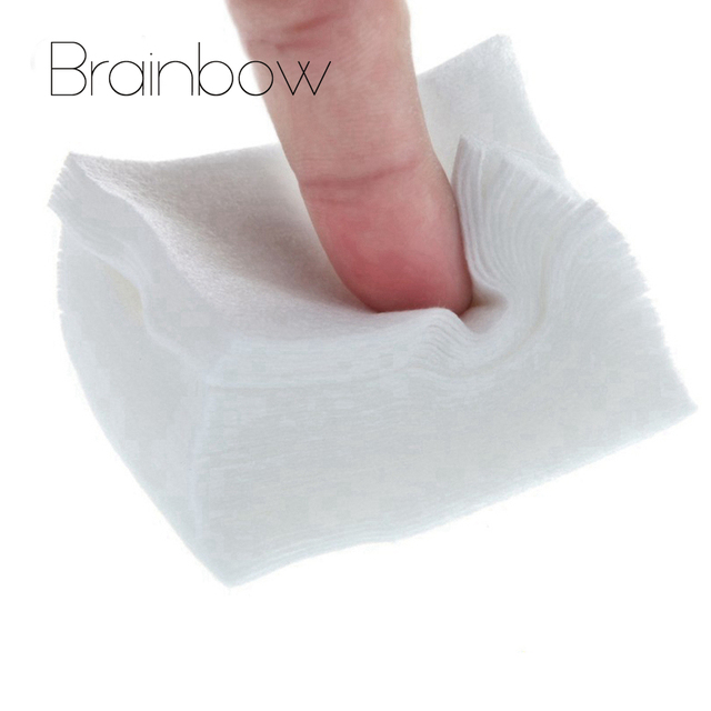 Brainbow 100pcs UV Gel Nail Polish Remover Cotton Pad Dry Wipes Used with Revomal Liquid Nail Art Tips Nail Clean Dry Lint Paper