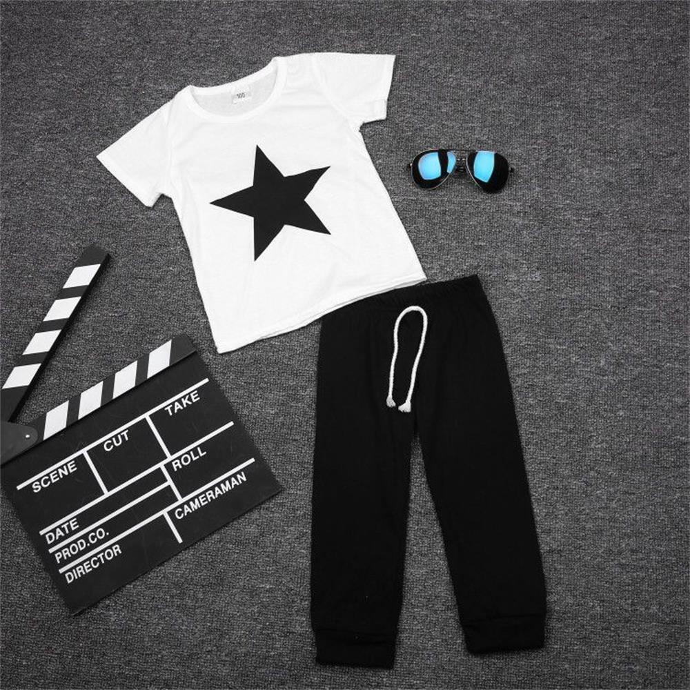 Newborn Baby Clothing Set 2018 Summer Style Baby Boy Clothes Casual Cotton Baby Girl Clothes Suits White T-shirt Black Pants baby boy clothes 2017 brand summer kids clothes sets t shirt pants suit clothing set star printed clothes newborn sport suits